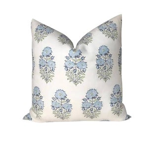 Mughal Flower Pillow Cover in Monsoon Blue