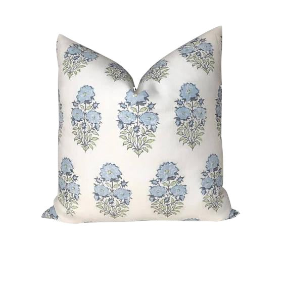 Mughal Flower Pillow Cover in Monsoon Blue For Sale