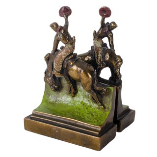 1920s Americana Paul Herzel Bucking Bronco Cowboy Bookends - a Pair