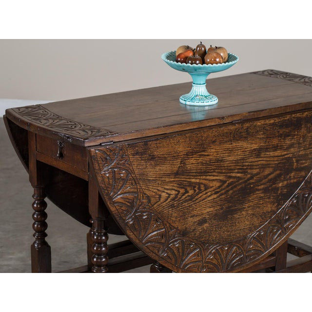 Antique English Oak Drop Leaf Table circa 1885 For Sale - Image 9 of 11