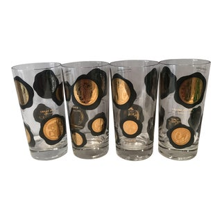 1950s Vintage Mid-Century Modern International Coins High Ball Tumblers - Set of 4 For Sale