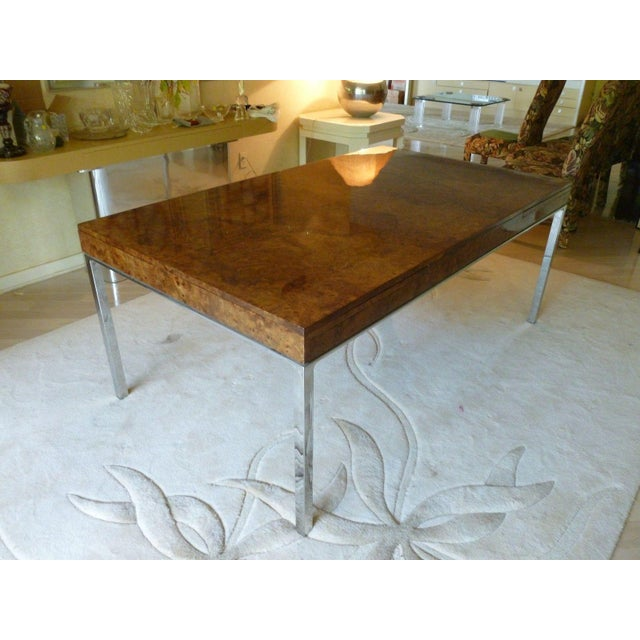 1970's Vintage Milo Baughman Style Burl-wood & Chrome Dining Table For Sale - Image 13 of 13