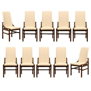 1970s Vintage Henredon Walnut Dining Chairs - Set of 8 For Sale