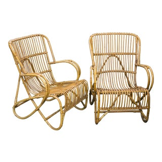Pair Mid Century Rattan and Tortoise Bamboo Lounge Chairs by Dirk van Sliedrecht for Rohe Noordwolde