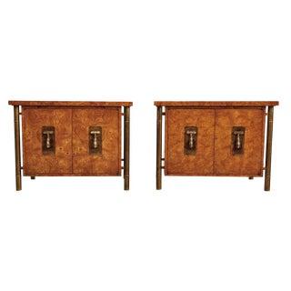 Mastercraft Hollywood Regency Burl Wood Brass Nightstands For Sale