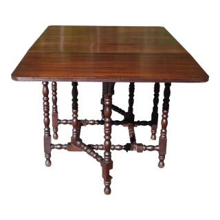 Antique Federal Solid Mahogany Drop Leaf Gate Leg Sofa Table Dining Table For Sale