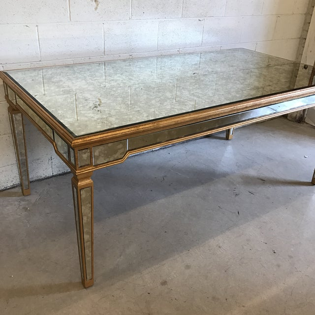Gold Antiqued Mirrored Dining Table With Gold Leaf Trim For Sale - Image 8 of 10