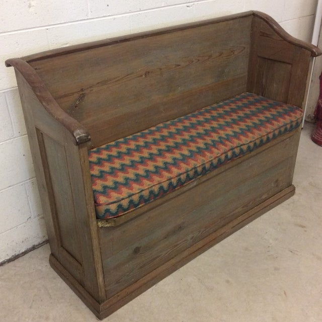 Boho Chic High Back Pickled Wood Bench For Sale - Image 3 of 12