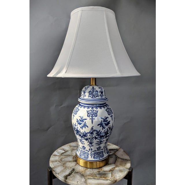 Blue and White Ceramic Lamp For Sale In Providence - Image 6 of 13