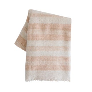 Blush Striped Wool Blanket For Sale