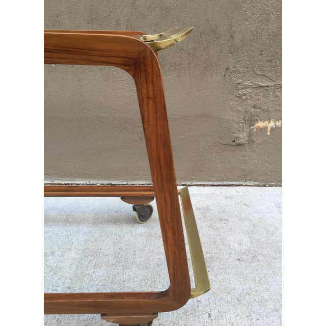 Austrian Walnut and Brass Bar Cart For Sale - Image 4 of 4