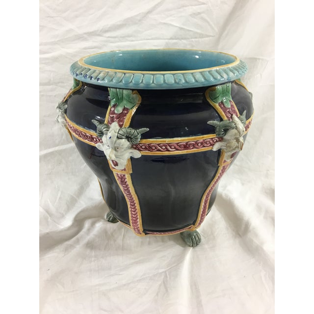 Majolica French Majolica Cachepot With Satyrs For Sale - Image 4 of 8
