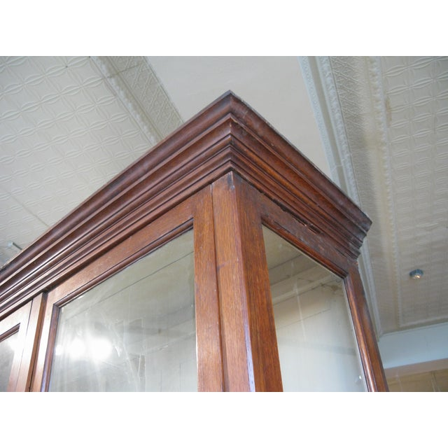Wood Large Antique Late 19th C. Oak and Glass Display Cabinet For Sale - Image 7 of 8