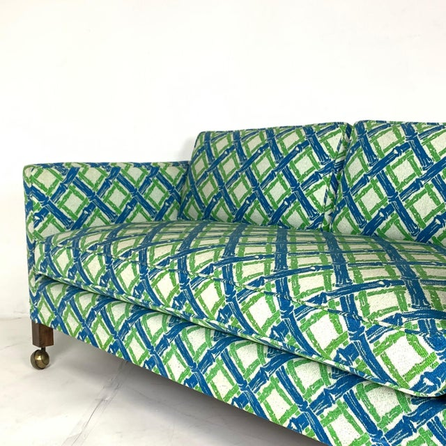 Mid 20th Century Pair of Dunbar Style Tuxedo or Parson Settees in Lattice Bamboo Upholstery For Sale - Image 5 of 10