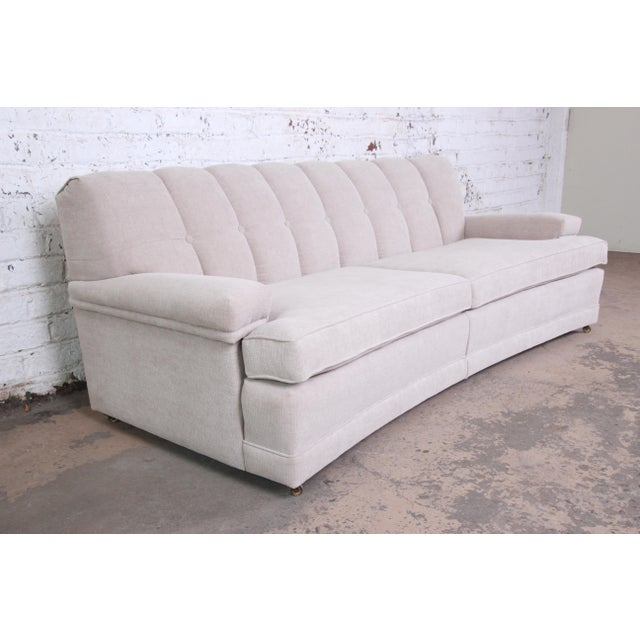 Dunbar Furniture Mid-Century Modern Curved Tufted Sofa, Newly Reupholstered For Sale - Image 4 of 12