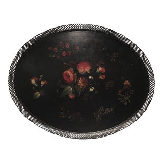 19th Century French Floral Tole Tray
