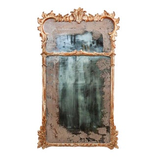 Carved Wood Pier Mirror With Antiqued Glass For Sale