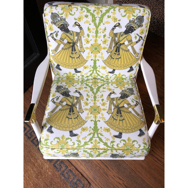 "2010s Lacquered Christopher Farr's ""Dancer"" Fabric Rocking Chair For Sale - Image 5 of 7"
