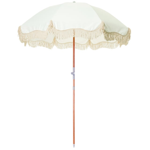 Contemporary Premium Beach Umbrella - Antique White with Fringe For Sale - Image 3 of 3