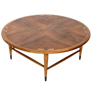 Vintage Mid-Century Modern Andre Bus for Lane Acclaim Round Walnut Coffee Table For Sale