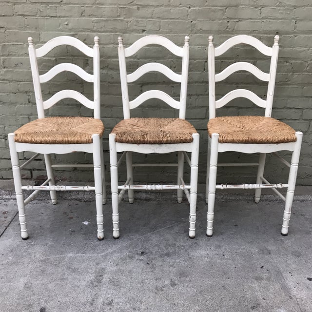 Painted Barstools with Rush Seats -- Set of 3 - Image 2 of 6