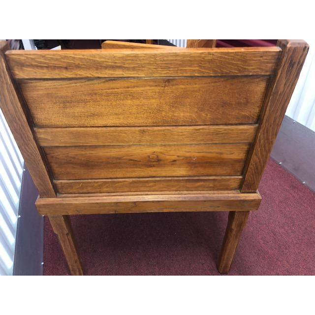 Mission 1970s Rustic Wood Side Chairs - a Pair For Sale - Image 3 of 10