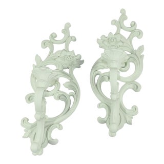 Mint Green Syroco Wall Candle Sconces - A Pair For Sale