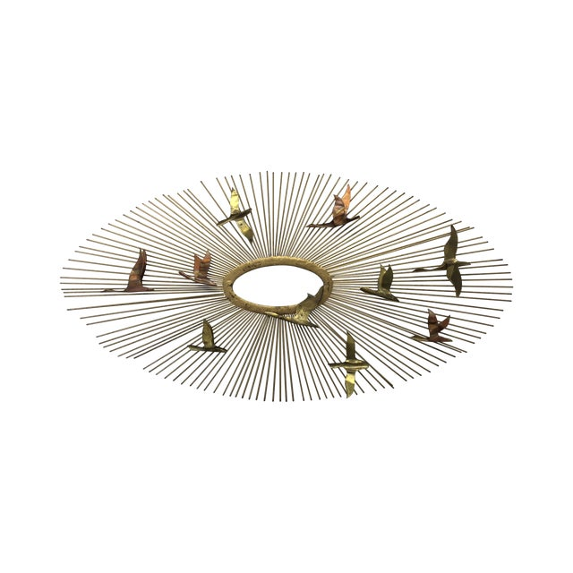 Curtis Jere Sunburst With Birds Wall Sculpture - Image 1 of 8