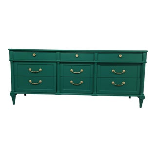 1950s Mid Century Emerald Green 9 Drawer Dresser For Sale