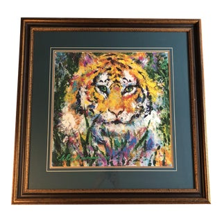 "1990's Framed Lithograph ""The Portrait of a Tiger"" by Leroy Neiman"