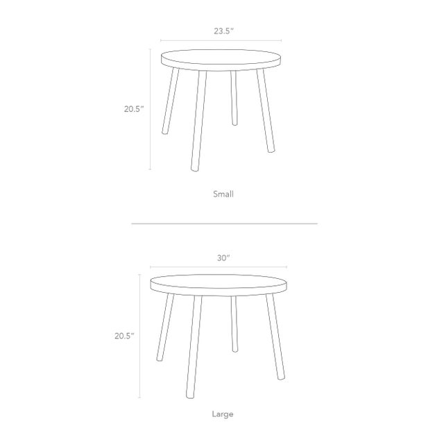 """Poco Round 23.5"""" Solid Walnut Wood Kids Table. Our Poco table has a sleek modern look and provides plenty play space with..."""