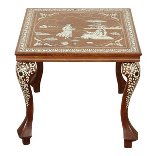 Anglo Indian Inlaid Square Side Table For Sale