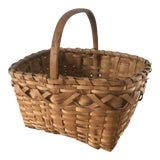 Image of Early 20th Century Woven Oak Basket For Sale