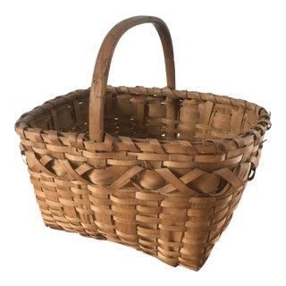 Early 20th Century Woven Oak Basket For Sale