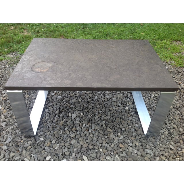 Vintage Fossil Covered Cast Stone Top Coffee Table - Image 8 of 9