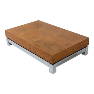 Burl and Chrome Coffee Table in Style of Claude Mahey - 1970s For Sale