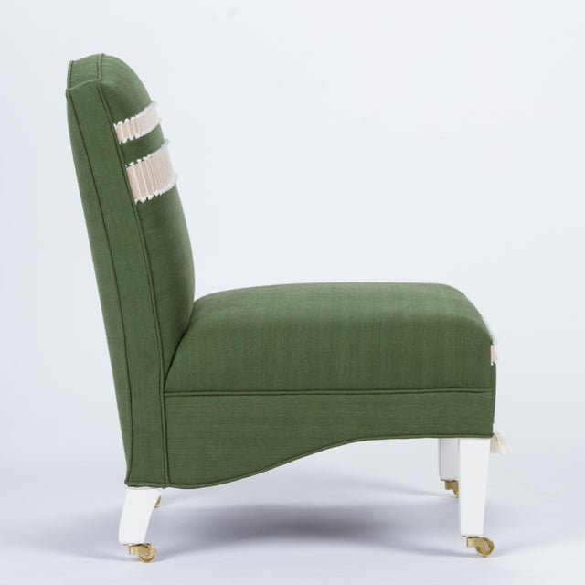 English Casa Cosima Sintra Chair in Verdure Linen, a Pair For Sale - Image 3 of 9
