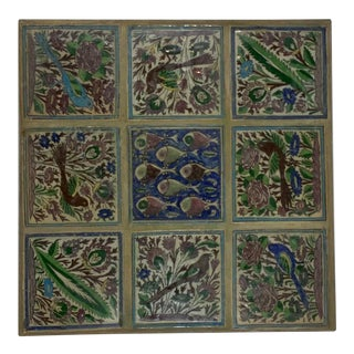 Vintage Hand-Painted Ceramic Tiles Wall Hanging For Sale