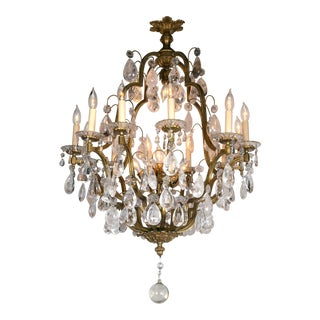 French Gilt Bronze Eighteen-Light Chandeliers (Pair Available) For Sale