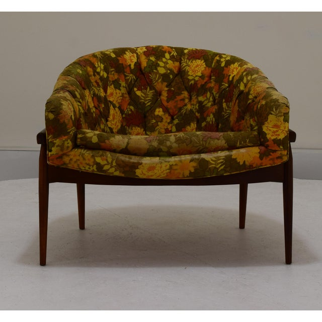 Yellow Barrel Back Tufted Floating Chair For Sale - Image 8 of 9