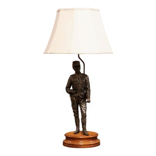 19th Century French Napoleon III Spelter Soldier Figure Table Lamp For Sale