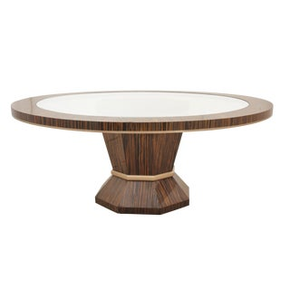 Round Midcentury Glass & Zebra Wood Dining Table For Sale