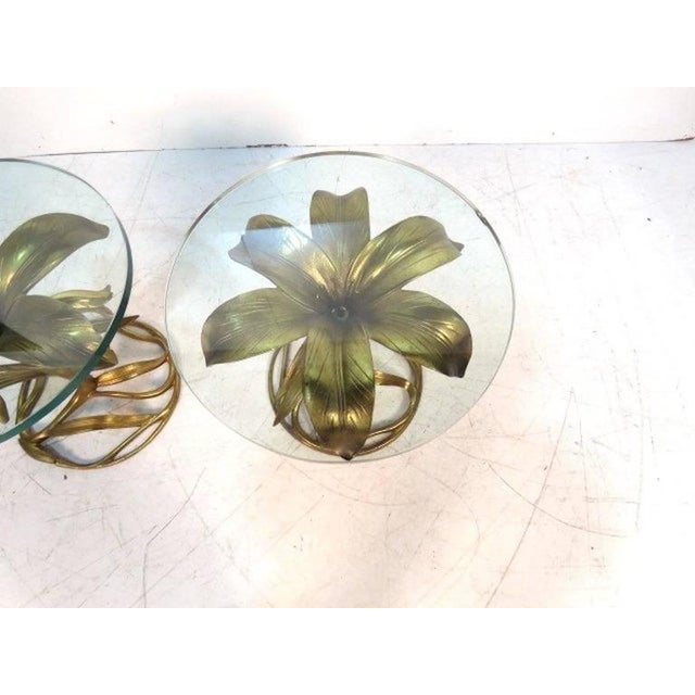 "Mid-Century pair of Arthur Court gilt aluminum flower form end tables in the shape of a ""lily"" . Gilt metal flowers with..."