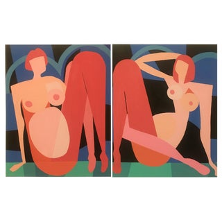 "2019 Brooks Burns ""Two Reclining Nudes"" Original Abstract Art Deco Paintings - A Pair For Sale"