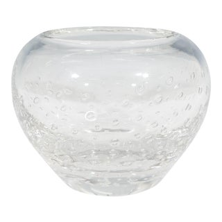 Swedish Glass Vase with Controlled Bubbles For Sale