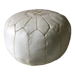 White Moroccan Leather Pouf For Sale