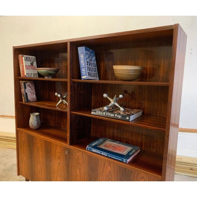 Danish Mid Century Modern Rosewood Bookcase / China Cabinet For Sale - Image 4 of 11