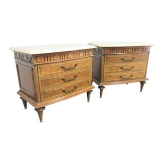 Italian Fruitwood & Burl Travertine Top Nightstands - a Pair For Sale