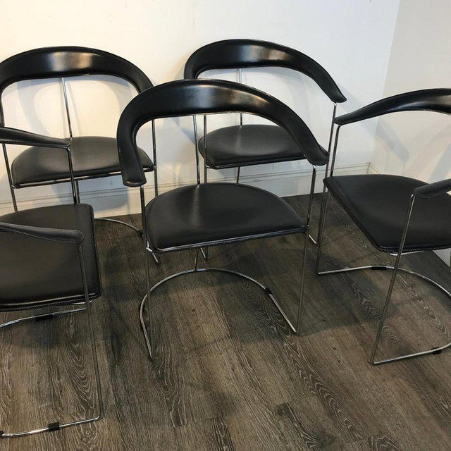 Five Italian Chrome and Black Leather Cantilever Armchairs, Handmade by Frag For Sale - Image 12 of 13