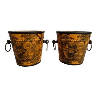 Antique French Tole Cache Pots - A Pair
